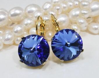 Sapphire Blue Earrings Royal Blue Swarovski Crystal drop earrings Gold Sapphire Blue,14mm ,Sapphire Cobalt  Wedding, Gold,Sapphire,GE106