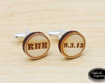 Personalized Engraved Cuff Links - Men's Block Initials with Date - Custom Wood Cuff Links - Wedding Gifts - CF-19