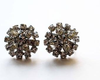 Vintage Screw In Earrings, Clear Rhinestone Earrings from the 1950's