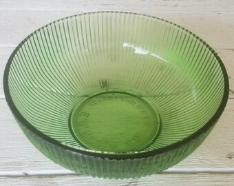 Vintage E. O. Brody Small Green Ribbed Serving Bowl - Candy Dish