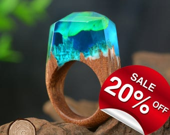Northern Lights ( Handmade Wooden Resin Ring. Wood Resin Ring.  Wood jewelry. with Magnificent Tiny Fantasy Landscape )