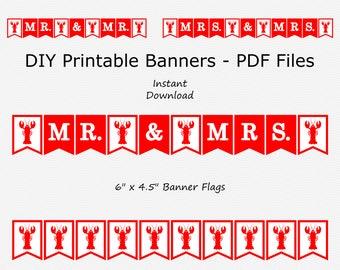 Mr. & Mrs. Banner - Red - Crawfish - Lobster - Mr. Mr. - Mrs. Mrs. PRINTABLE - INSTANT DOWNLOAD