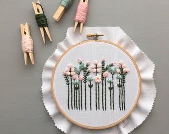 Wildflower Embroidery Kit - Pastels, DIY Hoop Art, Preprinted Fabric, Sewing Gifts,  Embroidered Florals, Stitching,  Handmade baby gift