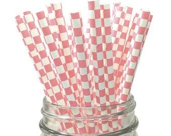 Light Pink Checkered 25pc Paper Straws