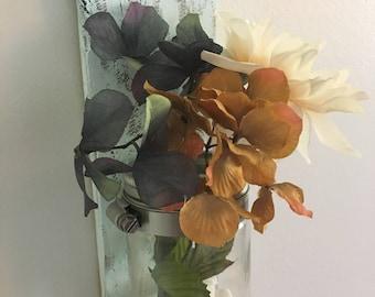 Homemade Rustic Pallet Wood Mason Jar Decor Flowers