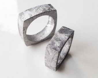 Meteorite Jewelry - Contemporary Square Geometric Solid Meteorite Ring