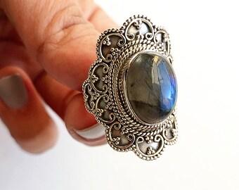 Blue Labradorite * Labradorite Ring * Sterling Silver Ring * Blue Gemstone * Gift * Statement Ring * Labradorite * Gemstone Ring * Oval Ring