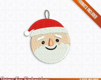 Christmas Ball  Santa Claus Saint Nicholas Father Xmas 2017 machine embroidery digital design by Prime Fox Studio (3 Sizes - 7 Formats)