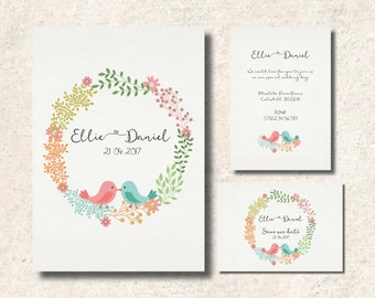 Love birds wedding invitation set, double sided invitation and save the date, sold together or separately