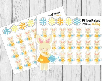 Easter Bunny Planner Stickers Spring Stickers Gardening Stickers