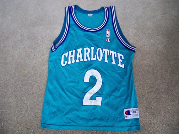 Vintage Champion Charlotte Hornets Larry Johnson NBA Basketball Uniform Jersey Size 40 hn3lWp3