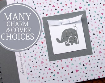 Pregnancy Album | Pregnancy Book | Pregnancy Gift | Personalized Pregnancy Memory Book | Mommy Journal | Tiny Hearts + Gray with Elephants