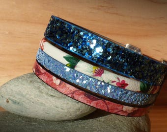 Cuff 25 mm - strips split leather blue/sky/pink floral / faux leather flowers-woman/girl