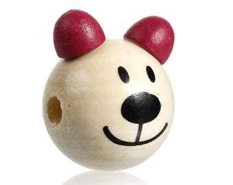 wooden bear 3D head bead