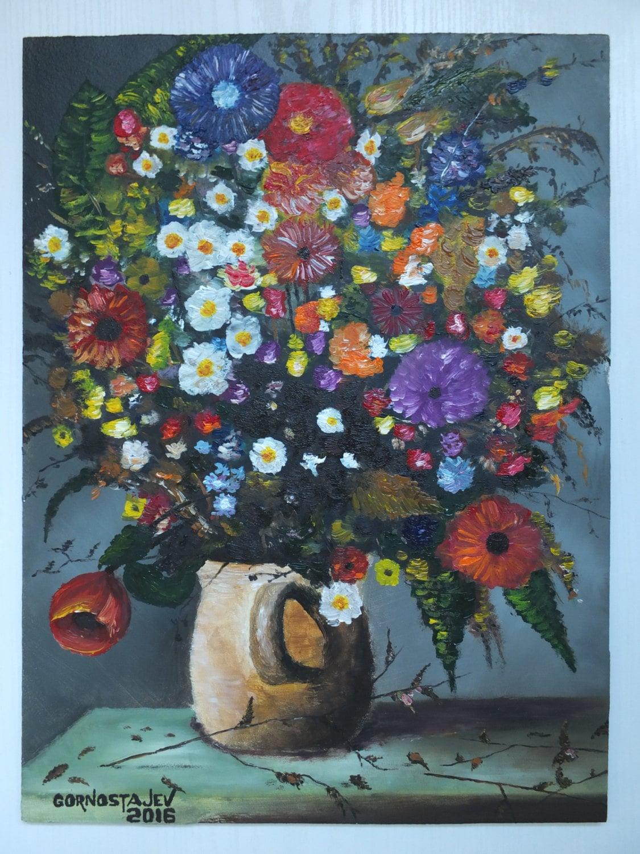 Feld Blumen Impressionismus Kunst Ölgemälde Faserplatten 12 x