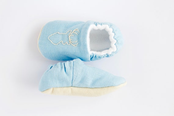 Baby Blue Hand Embroidered baby shoe, crib shoe, pre walker and toddler