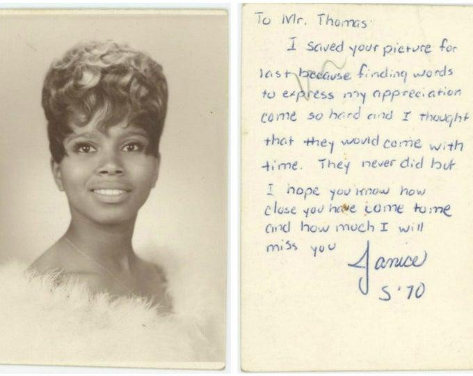 Vintage School Graduation Photo with Tender Inscription to Teacher. Janice, 1970 [81639]