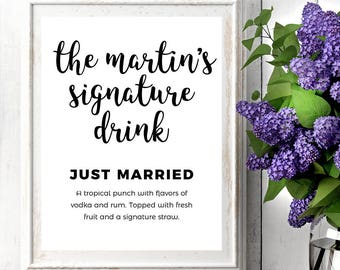 Signature Drink Sign | Wedding Signs | Wedding Signs Printable | Wedding Bar Sign | Signature Drink Sign Printable