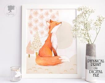Fox print, Nursery art, Woodland nursery, Fox art, Nursery decor, Fox watercolor, Fox painting, Fox decor, Animal wall art, Fox printable