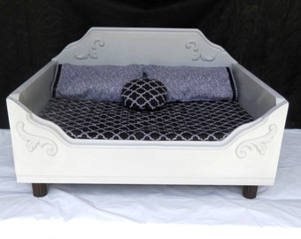Dog Bed, Cat Bed,Pet Bed for Small Dogs or Cats, Wooden Pet Bed, Memory Foam Bed, Grey Bed