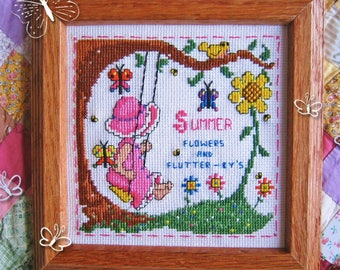 INSTANT DOWNLOAD Summer Flowers & Flutter-bys Sweet Sunbonnet Seasons PDF cross stitch patterns by Calico Confectionery at cottageneedle.com