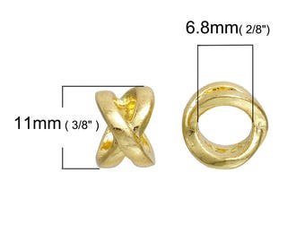 1 Perle passing gold cross for 6-7 mm - SC76518 cord-
