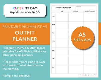 A5 Filofax Outfit Planner - Minimalist Design - A5 and Personal Size Printables