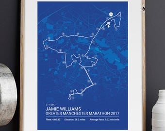 Greater Manchester Personalised Marathon Poster / Memento / Gift / Art Print / Route / Map