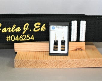 Gold Karate Black Belt Earrings (SECOND DEGREE lady)! Celebrate your rank or honor your family members acheivement!