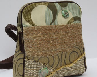 SHOULDER BAG by Elizabeth Z Mow  Fabric and Leather Collage Art  Moonlight Beach