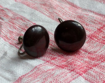 Vintage Black Circle Clip On Earrings with Screw Backs
