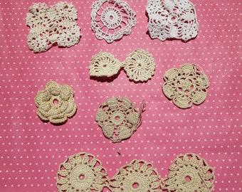 Antique Lace Vintage Lace Crochet Circles 8 Pieces