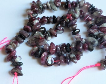 Red tourmaline nuggets 4x8mm. Natural tourmaline beads. Tourmaline chips. DIY loose beads
