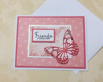 Friendship card, greeting card, handmade card, occasion card, pink, flower design