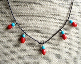 Gitana Necklace Featuring Turquoise and Mountain Coral