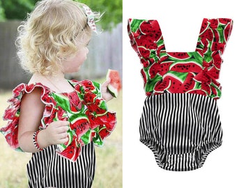 Baby Romper Summer Baby Girls Infant Watermelon Print Backless Jumpsuit Romper baby girl clothes