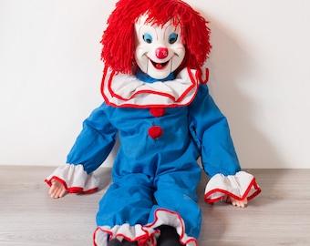 Vintage Ventriloquist Doll - Clown Hand Puppet -Bozo the Clown Ventriloquist Doll from the 1960s - Mouth Works