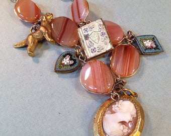 Book Lover Necklace Bookworm Dog Lover Antique Assemblage w Cameo & Micro Mosaics - Owls2Athens