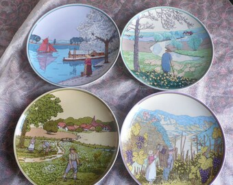 Set-4 Villeroy & Boch Heindrich Germany porcelain Wall plate collecting plate 4 seasons Collectible rare