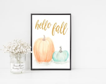 Hello Fall Printable / Fall Printable / Autumn Decor / Watercolor Fall Pumpkins / Fall Wall Art / Thanksgiving Halloween Art Print