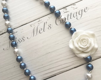 Beautiful Blues and Whites Mini 12mm Bead Necklace with White Flower Bead Pendant/Football team colors/Dallas/Texas/ProFootball