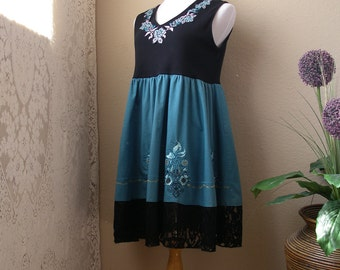 Teal and Black Tank Minidress/ Upcycled Boho Embroidered Dress/ Small to Medium