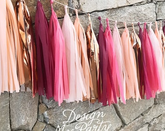 Fever Glam - Mulberry, Island Pink, Peach and Rose Gold Tassel Garland