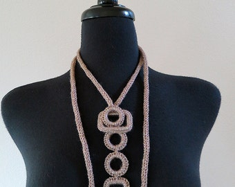 Taupe Color Cord Rope Statement Necklace Lariat Bib with Crocheted Rectangles and Rings