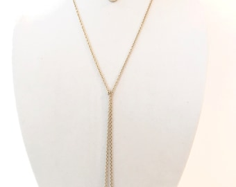Double Chain & Grey Pendant Necklace, Layering Necklace