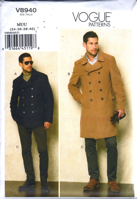 Vogue 8940 Mens Double Breasted Peacoat Jacket Tapered Pants Pattern  Overcoat Adult Sewing Pattern Chest 34 36 38 40 UOR 40 42 44 46 UNCUT