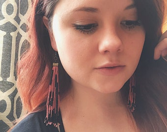 Beaded Fringe Earrings: Rose Pink and Matte Black- Long Earrings-Boho Earrings- Tassel Earrings- Pink Earrings- Boho Style Jewelry