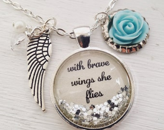 With brave wings she flies sparkle necklace/inspirational quote necklace/wing necklace/quote jewelry/graduation gift/inspirational gift