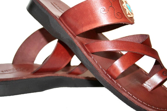 Sandals For Leather Handmade Decor Flat Sandals Unisex Brown Flip Leather Men Sandals Bath Brown Sandals Women amp; Leather Flops 4g8dZq