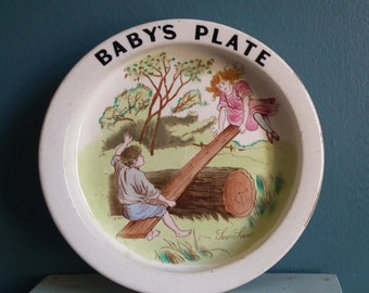 Antique / Vintage Nursery Ware Baby Bowl Carlton Ware England 1890s - 1900s Baby's Plate Children Playing See-Saw Hand-Painted Cereal Dish